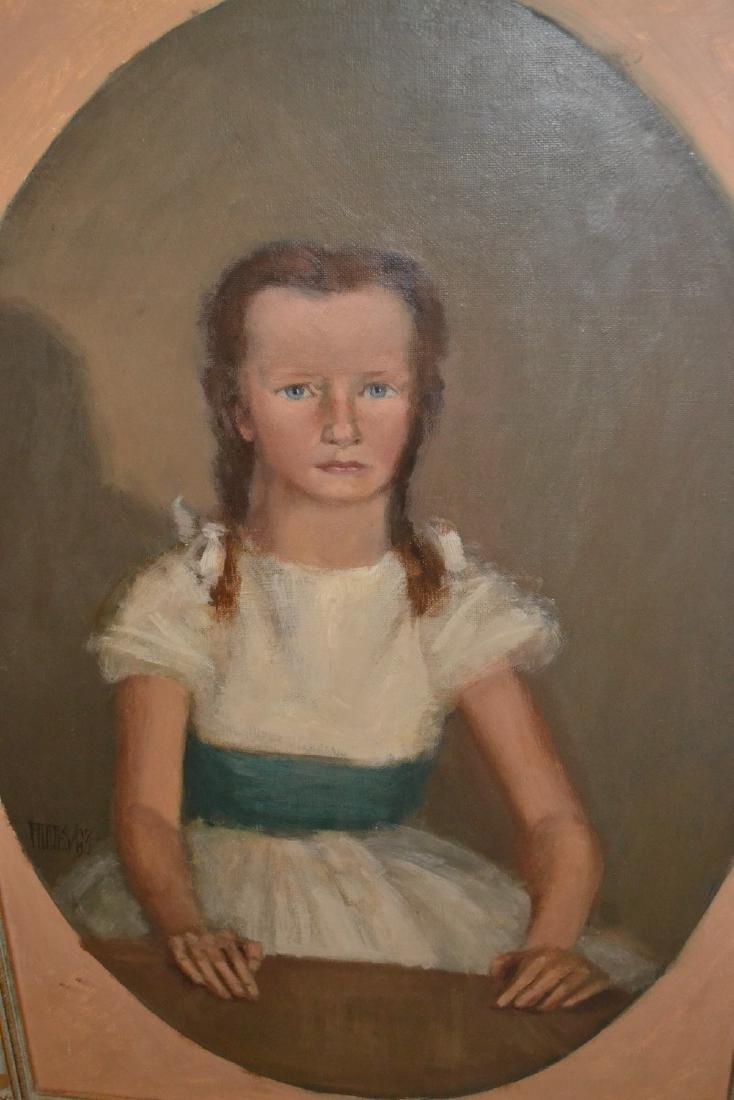 Oil on board, portrait of a girl wearing a white dress
