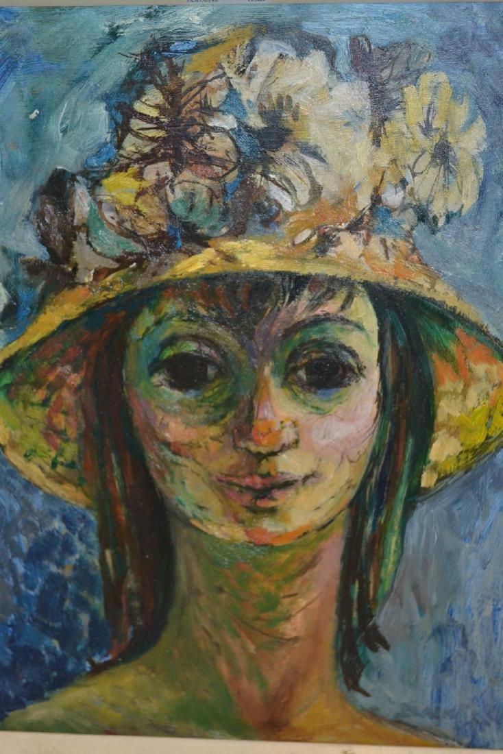 Iris Blain, oil on board, portrait of a girl wearing a