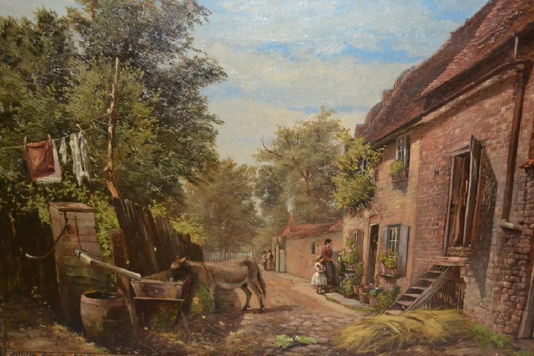 Strafford Newmarch, oil on canvas, rural village street