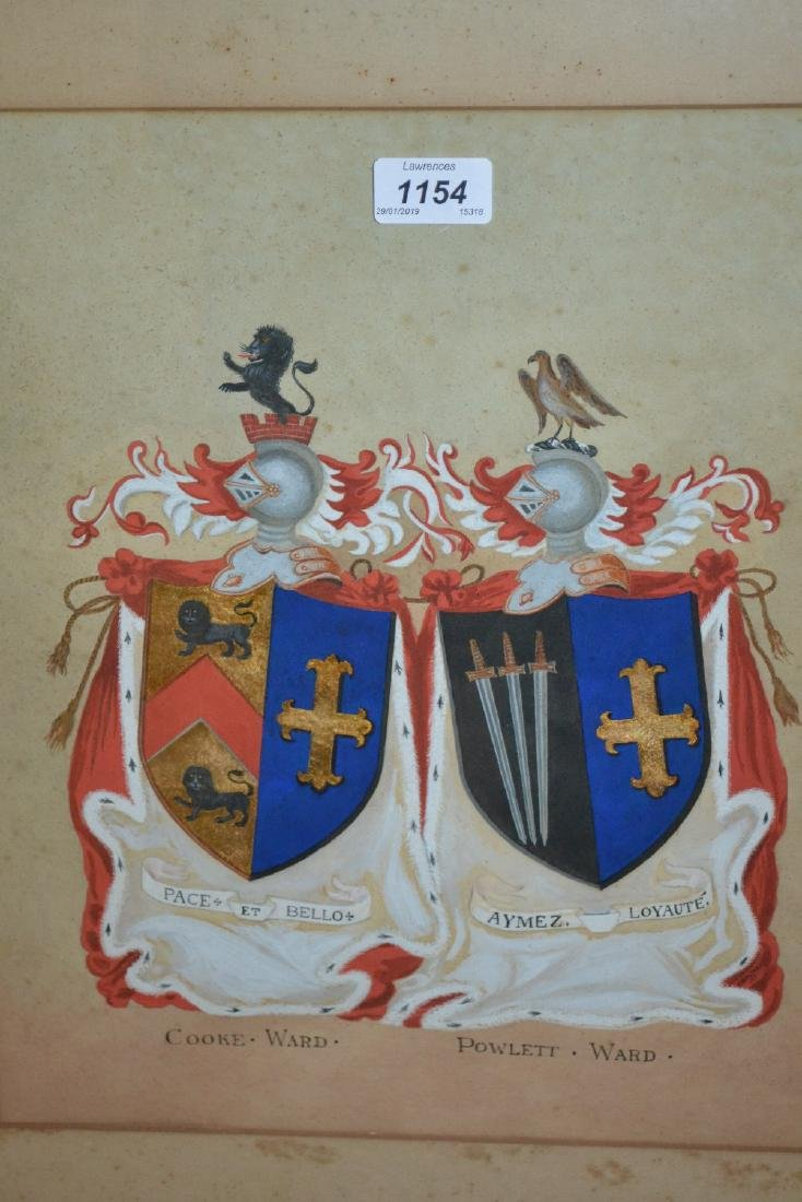 Antique ink and gouache, the coat of arms for Cooke