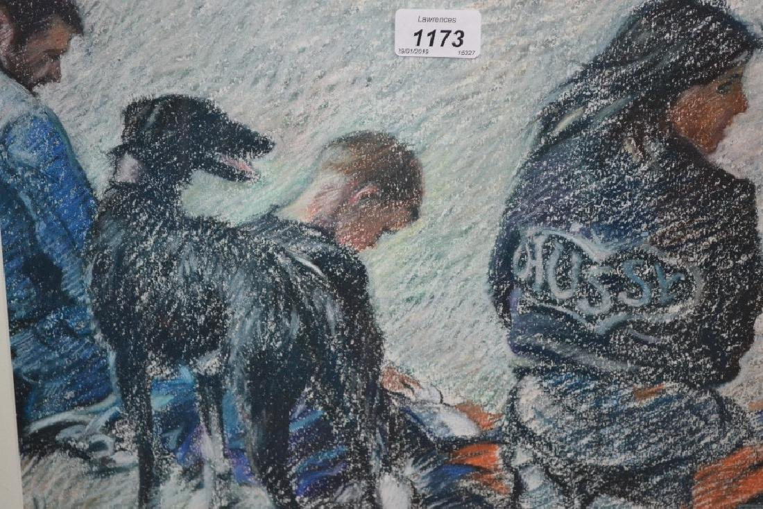 20th Century pastel drawing, a group of figures with a