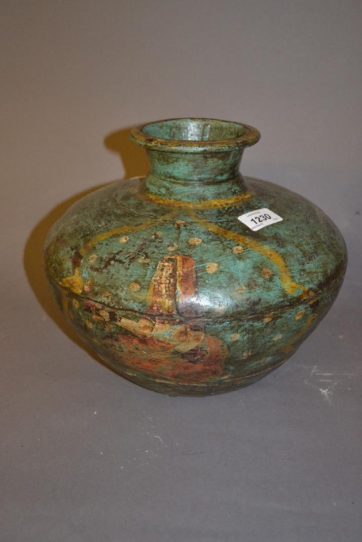 Antique Indian metal baluster form vase painted with