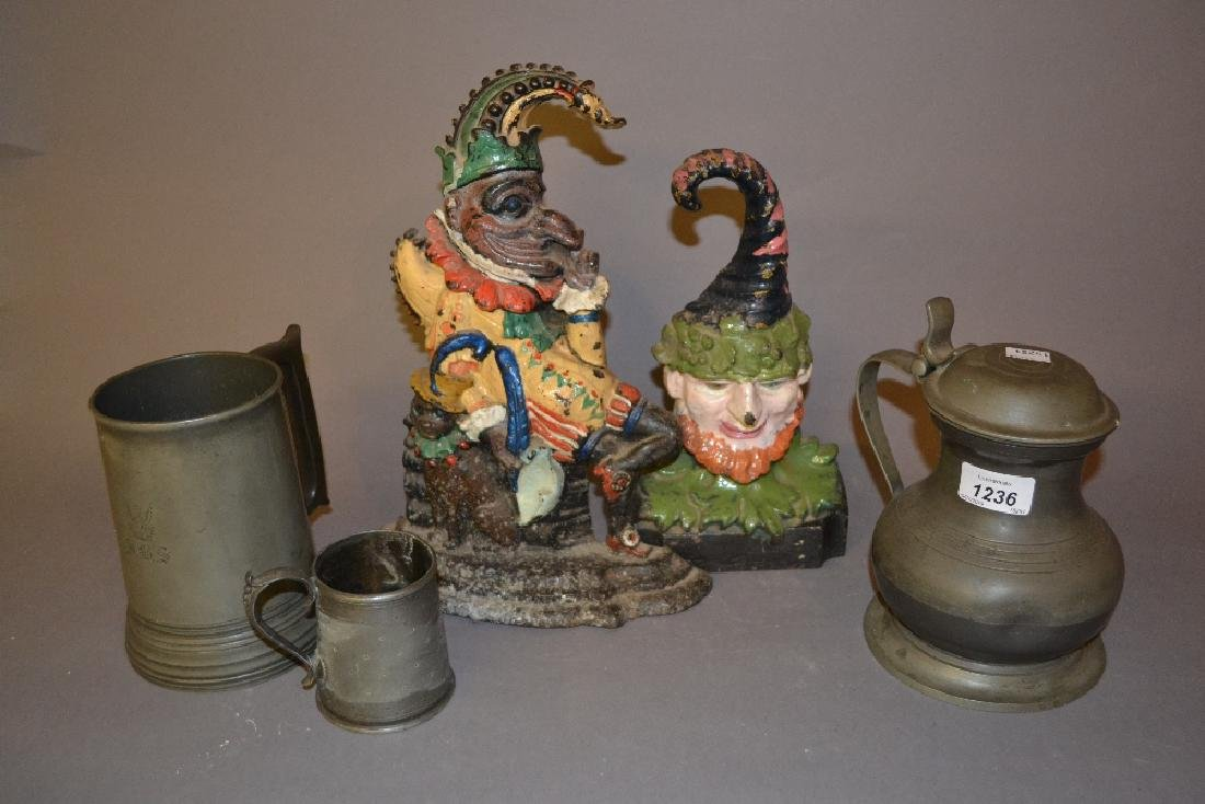 19th Century pewter quart mug together with two other