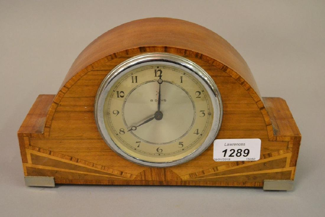 Art Deco walnut and inlaid dome shaped mantel clock
