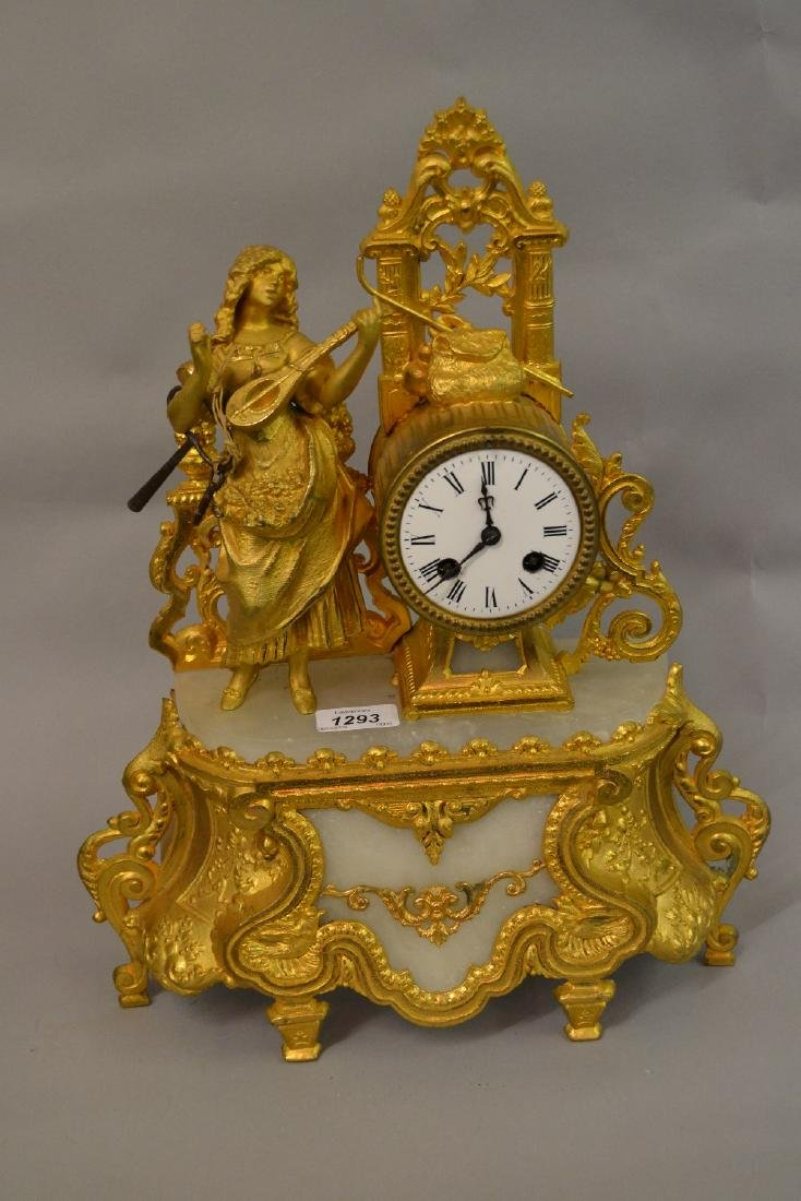 19th Century gilded spelter and alabaster figural