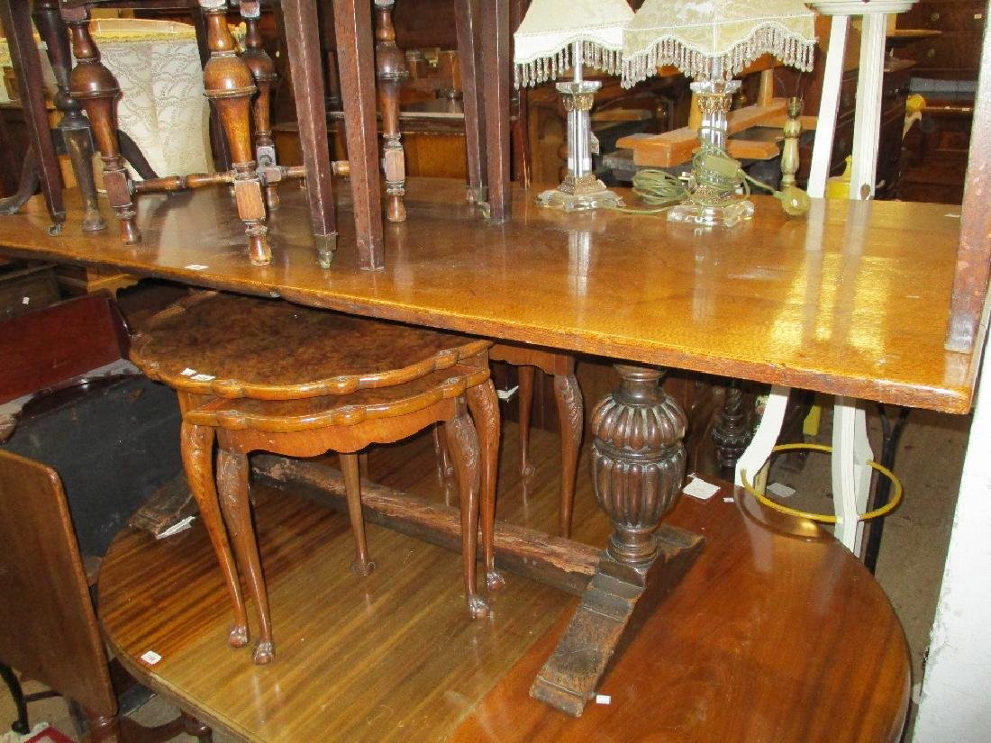 Large rectangular oak refectory style dining table, the