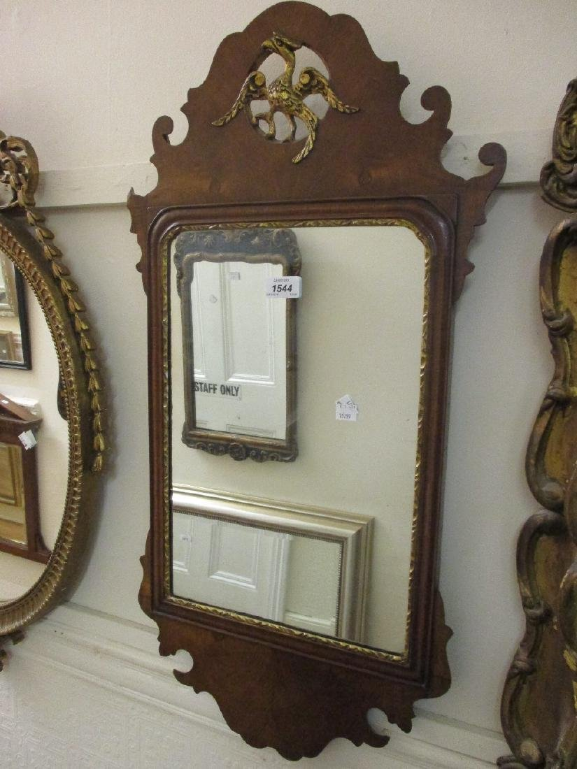 18th Century style walnut and parcel gilt wall mirror