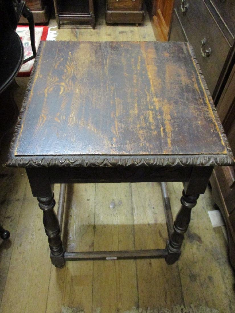 Square carved oak occasional table, small oak