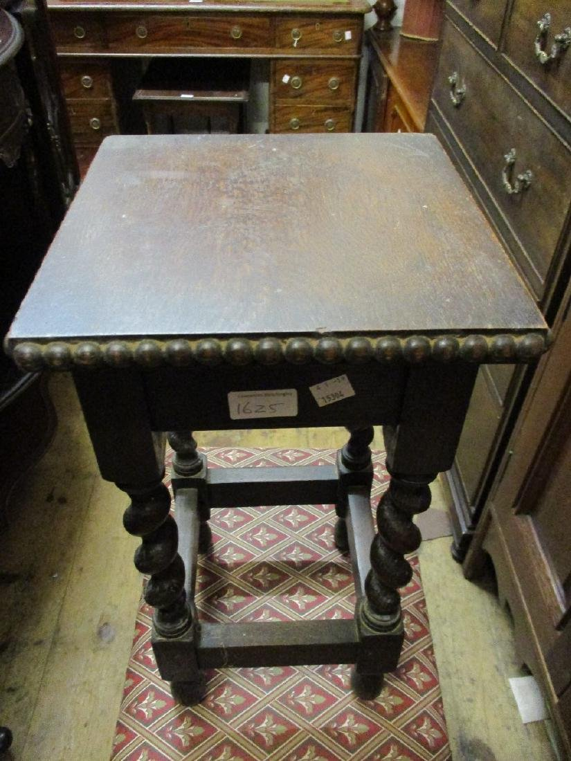 Square carved oak occasional table, small oak - 2