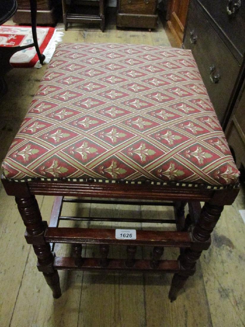 Edwardian stained beechwood rectangular piano stool on