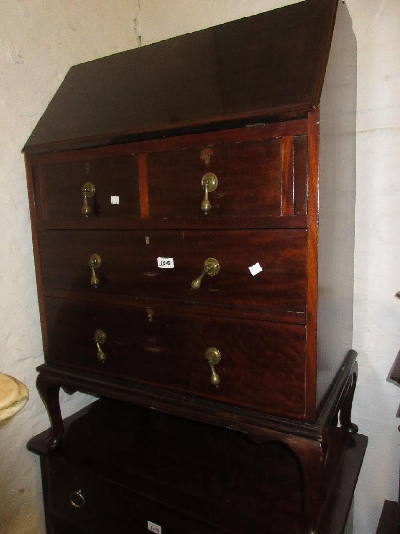 Edwardian mahogany bureau together with an Edwardian
