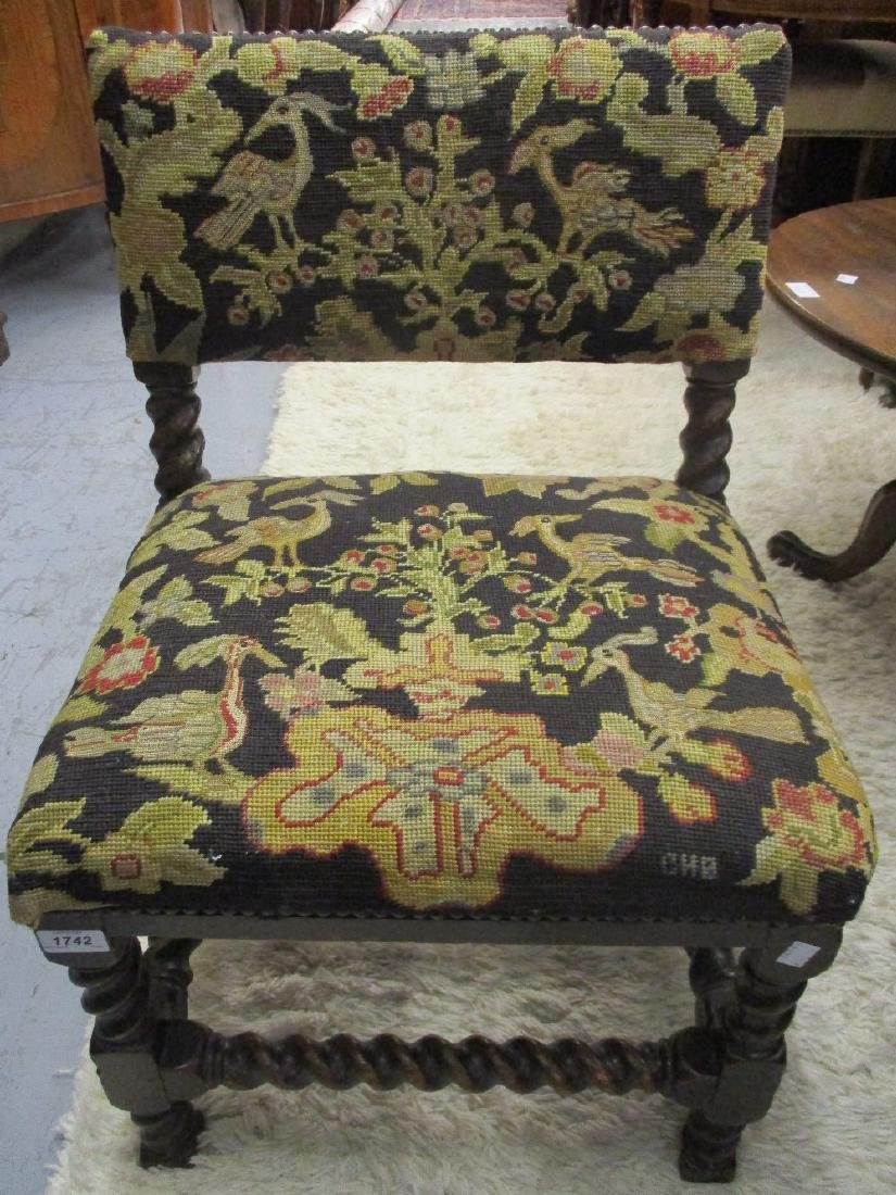 Antique oak side chair with needlepoint upholstery on