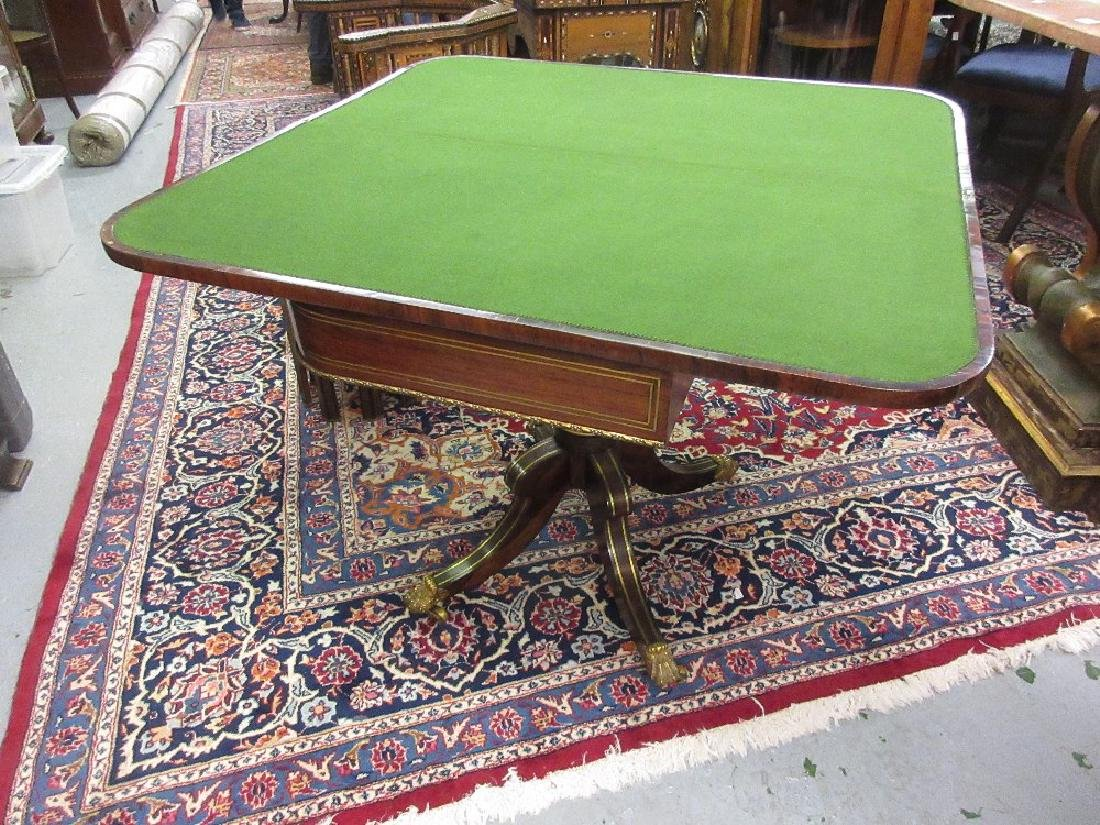 Regency rosewood cut brass inlaid and parcel gilt