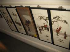 Set of four 20th Century Chinese cream chinoiserie