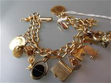 18ct Gold double band curb link bracelet set with