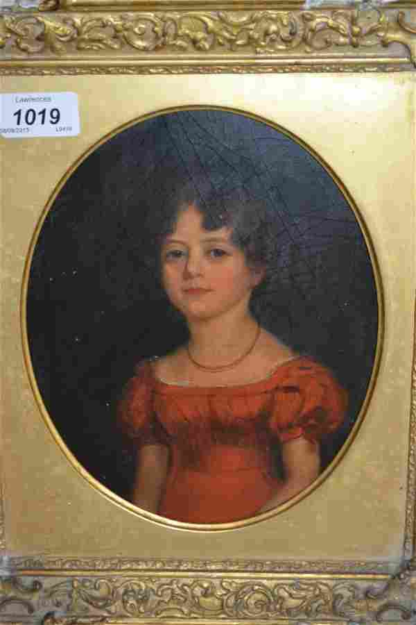 19th Century English school oval mounted gilt framed