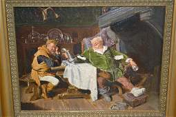 Oil on panel, possibly on print base, medieval interior