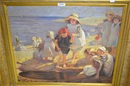 20th Century oil on canvas, beach scene with children
