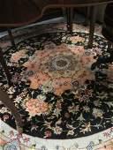 Circular unusual Persian part silk rug having black