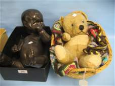 20th Century composition baby Negro doll and a teddy