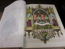 Large leather bound 1870 family Bible with many hand