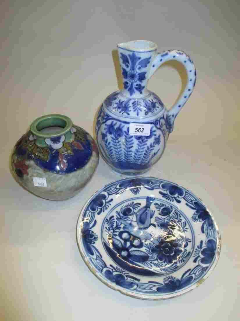 Royal Doulton stoneware vase decorated with fuchsias,