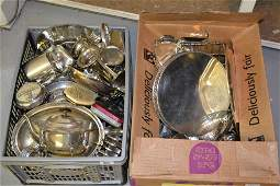 Two boxes containing a large quantity of various silver
