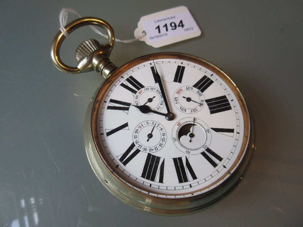 Nickel plated Goliath pocket watch, the moon phase
