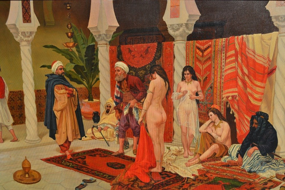 Large early 20th Century oil painting on canvas, a