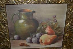 Oil on canvas board still life study of a jug and
