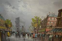 A. De Vity, oil on canvas, Paris street scene with