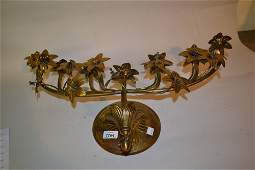 19th Century brass floral design wall sconce with