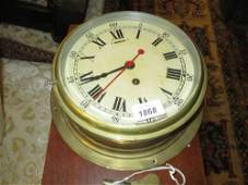 English circular brass cased ships bulkhead clock the