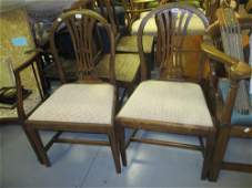 Pair of George III mahogany side chairs with pierced
