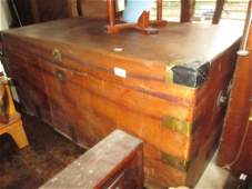 Large camphor wood trunk with brass corners af