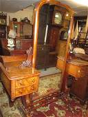Unusual Victorian walnut cheval mirror with integral