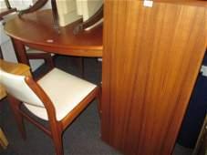 Danish teak dining room suite comprising: oval dining