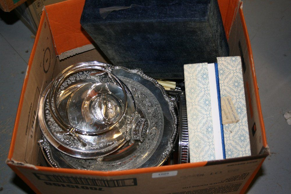 Box containing a quantity of various silver plated