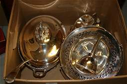 Silver plated tureen cover and ladle, a three piece