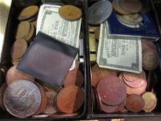 Three small cash boxes containing a quantity of various
