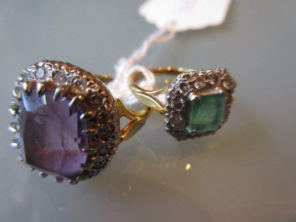 18ct Yellow gold amethyst and diamond set flowerhead