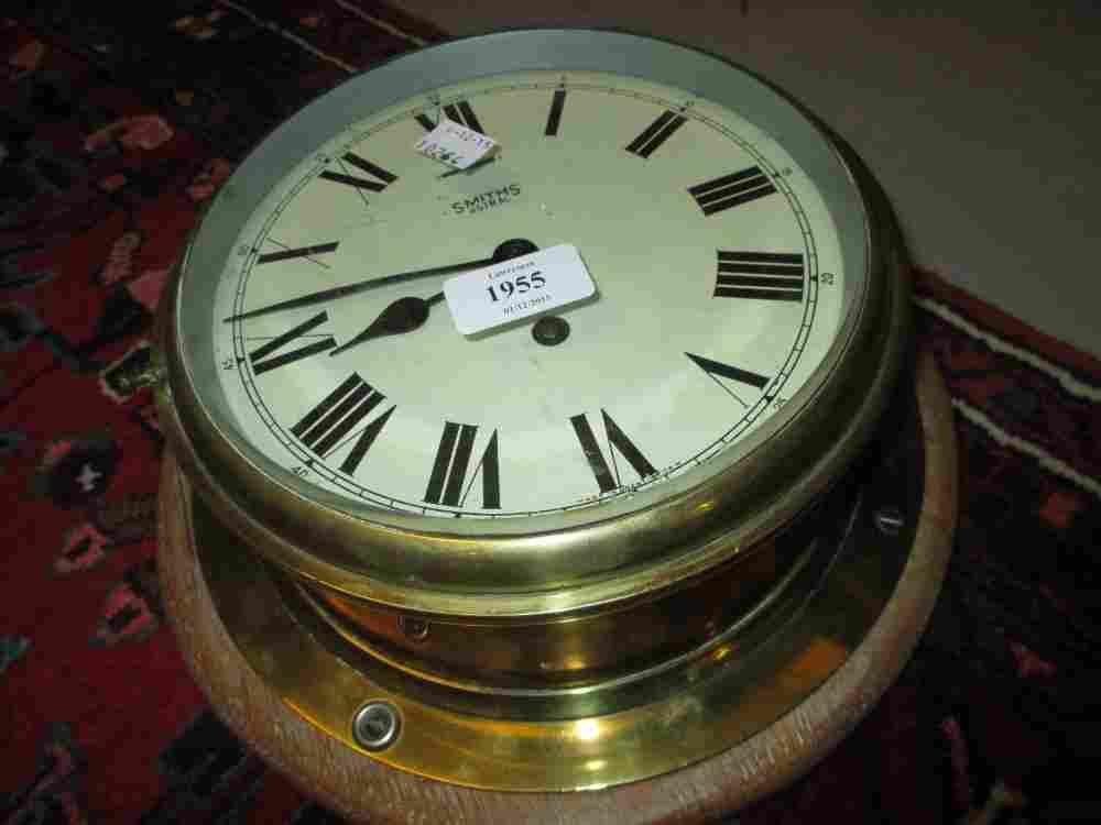 Mid 20th Century brass cased ships bulkhead clock by
