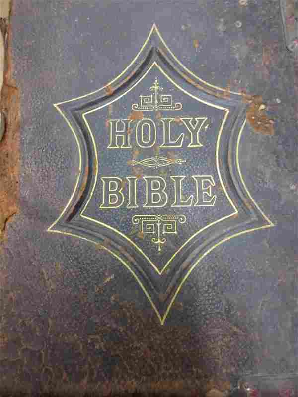 Large leather bound family bible together with another