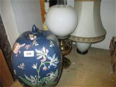 Mid 20th Century blue pottery table lamp together with