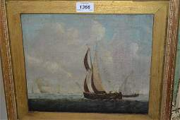 18th  19th Century oil on canvas maritime scene with