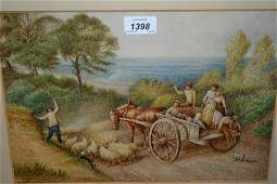 Well executed watercolour, landscape with children in a
