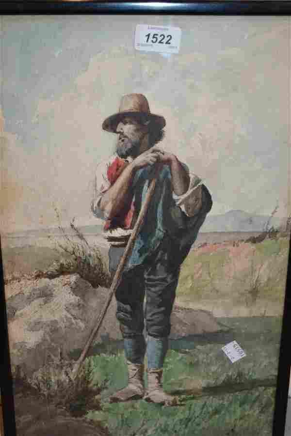 Watercolour, study of a figure wearing Italian peasant