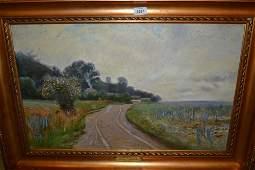 Viggo Langer signed oil on canvas landscape with wild