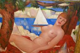 Large 20th Century oil on canvas board, a reclining