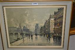 Mid 20th Century oil on canvas French street scene